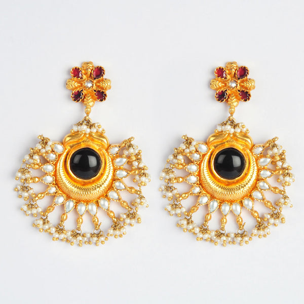 Gold Plated Sterling Silver Black Onyx Earrings