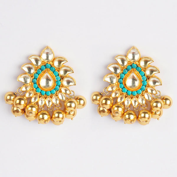 Gold Plated Sterling Silver Turquoise Drop-Shaped Earrings