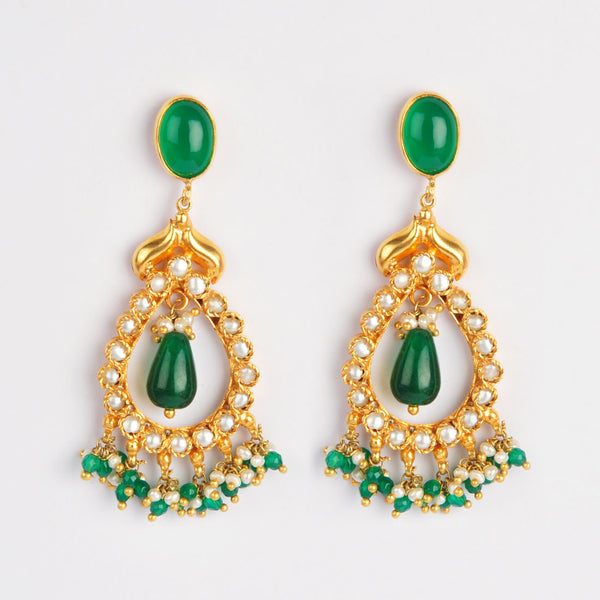 Gold Plated Sterling Silver Green Onyx And Garnet Earrings