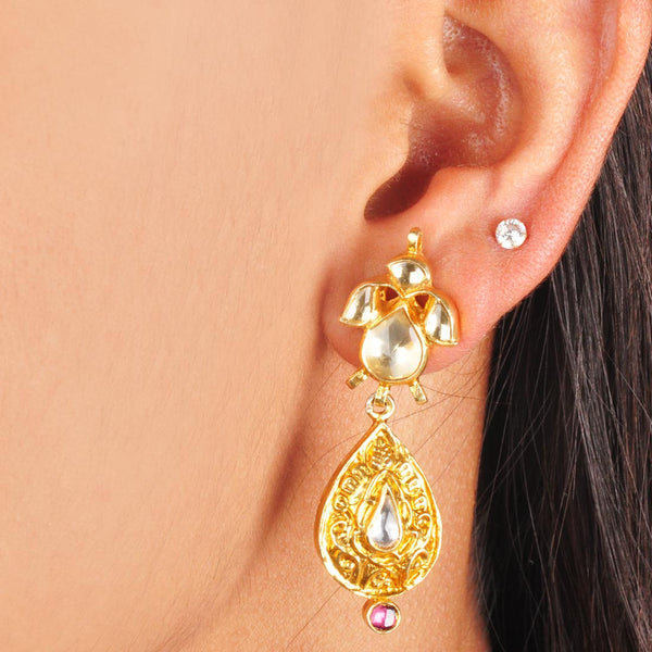 Gold Plated Sterling Silver Drop Earrings by Silvermerc Designs