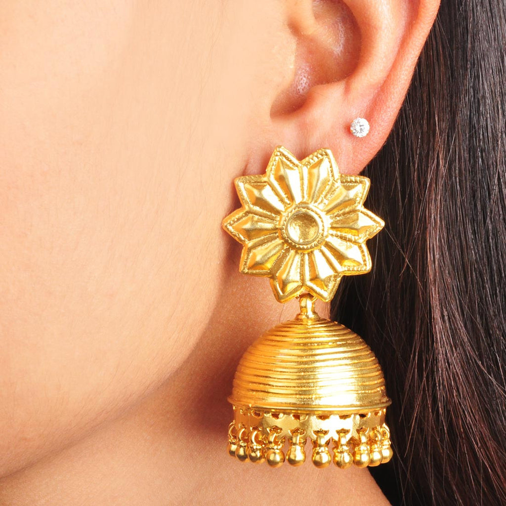 Gold Plated Sterling Silver Golden Jhumkis with Floral Motif by Silvermerc Designs