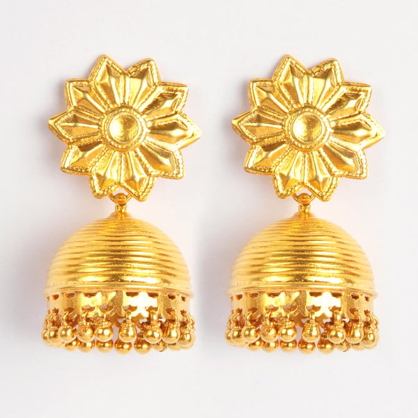 Gold Plated Sterling Silver Golden Jhumkis With Floral Motif