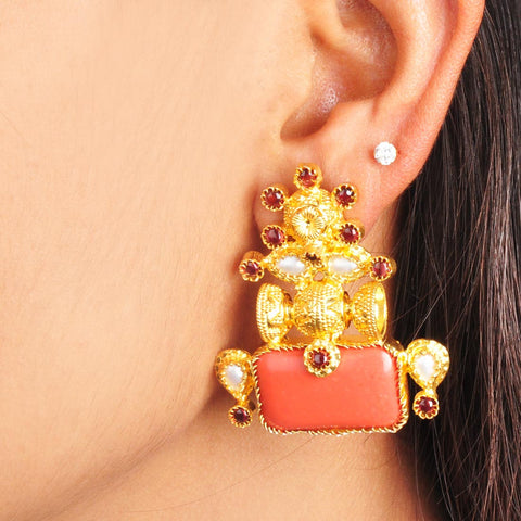 Gold Plated Sterling Silver Coral and Gold Earrings by Silvermerc Designs