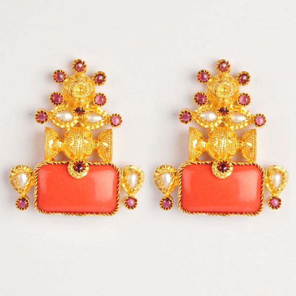 Gold Plated Sterling Silver Coral And Gold Earrings