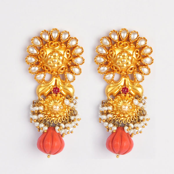 Gold Plated Sterling Silver Carved Coral Earrings