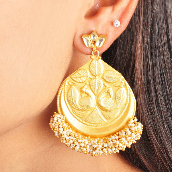 Gold Plated Sterling Silver Peacock Earrings by Silvermerc Designs
