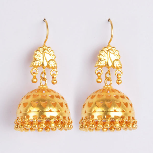 Gold Plated Sterling Silver Engraved Golden Jhumkis