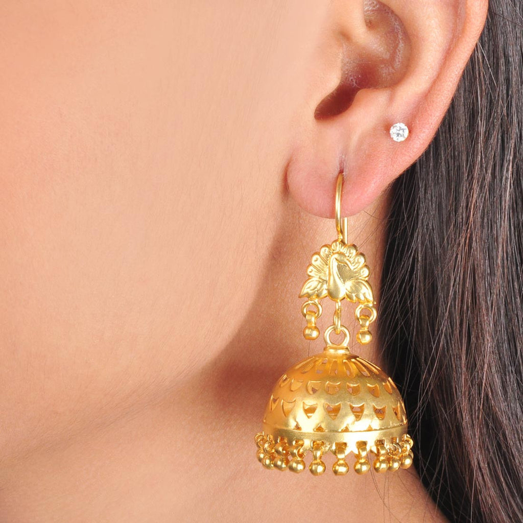 Gold Plated Sterling Silver Engraved Golden Jhumkis by Silvermerc Designs