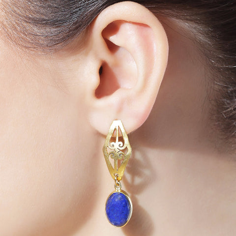 Royal Blue Dangle Earrings by Silvermerc Designs