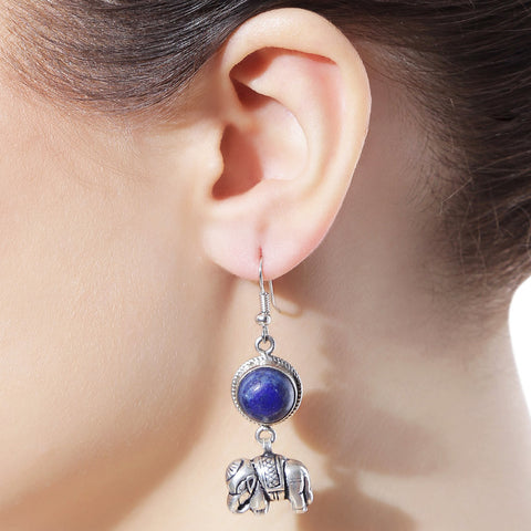 Elephant Blue Onyx Oxidized Earrings by Silvermerc Designs