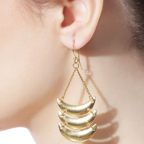 Half Moon Gold Plated Dangle Earrings by Silvermerc Designs