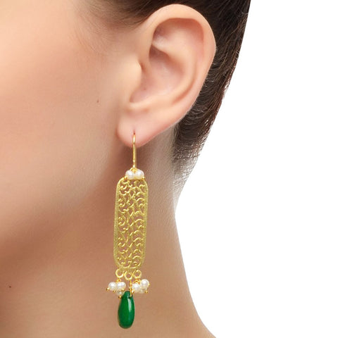 Green & Gold Gold Plated Dangle Earring by Silvermerc Designs