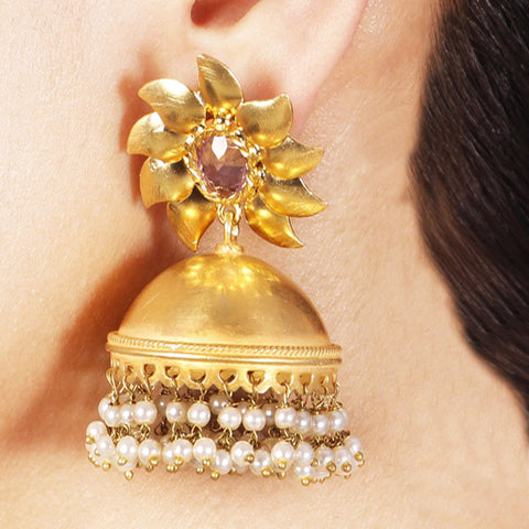 Gold Plated Sunflower Jhumkas by Silvermerc Designs