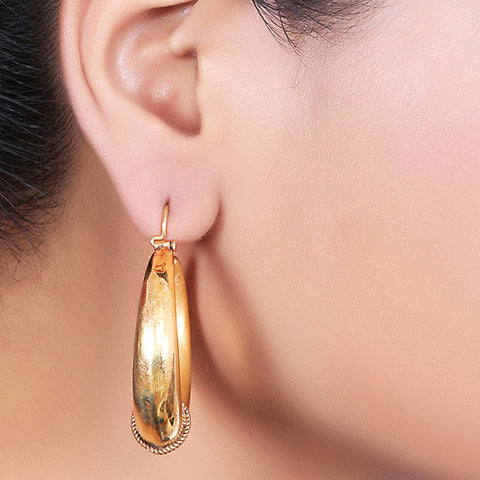 Simpal  Gold Plated Oval Hoops by Silvermerc Designs