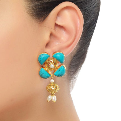 Floral Shaped Stud Earrings by Silvermerc Designs