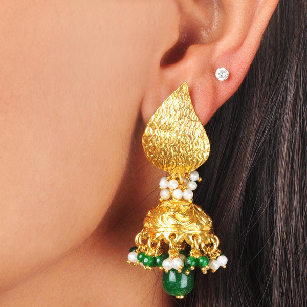 Gold Plated Sterling Silver Green Stone and Pearl Earrings by Silvermerc Designs