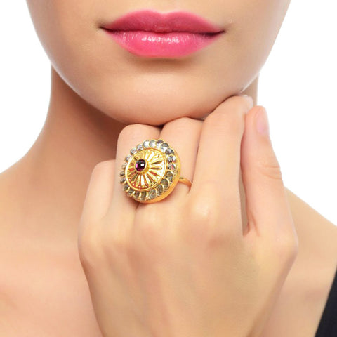 Gold Plated Kundan Ring by Silvermerc Designs