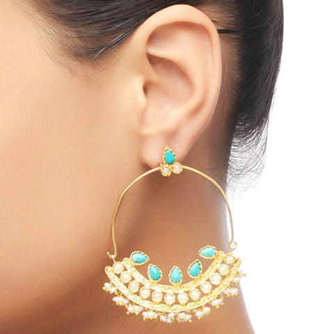 Turquiose Gold Plated Chand Balis by Silvermerc Designs