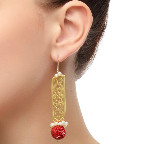 Red & Gold Studded Dangle Earrings by Silvermerc Designs