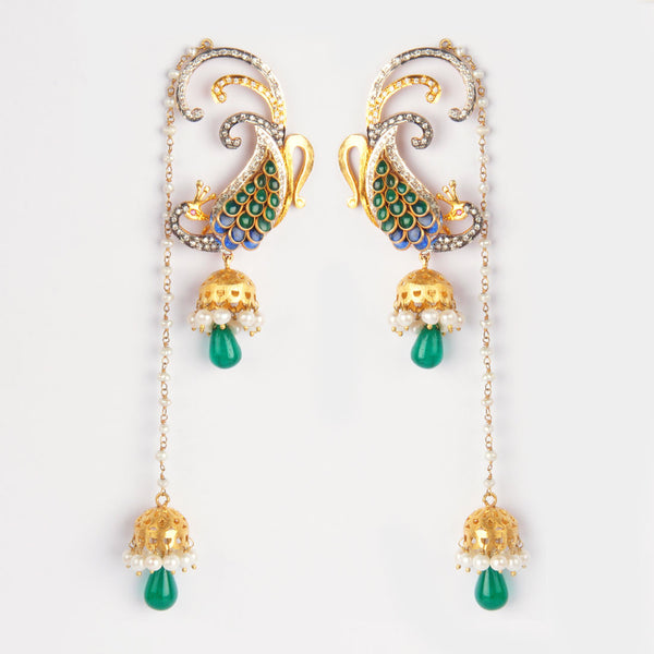 Gold Plated Sterling Silver Pachi Work Earrings