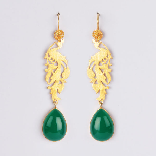 Gold Plated Sterling Silver Green Onyx Dangler Earrings