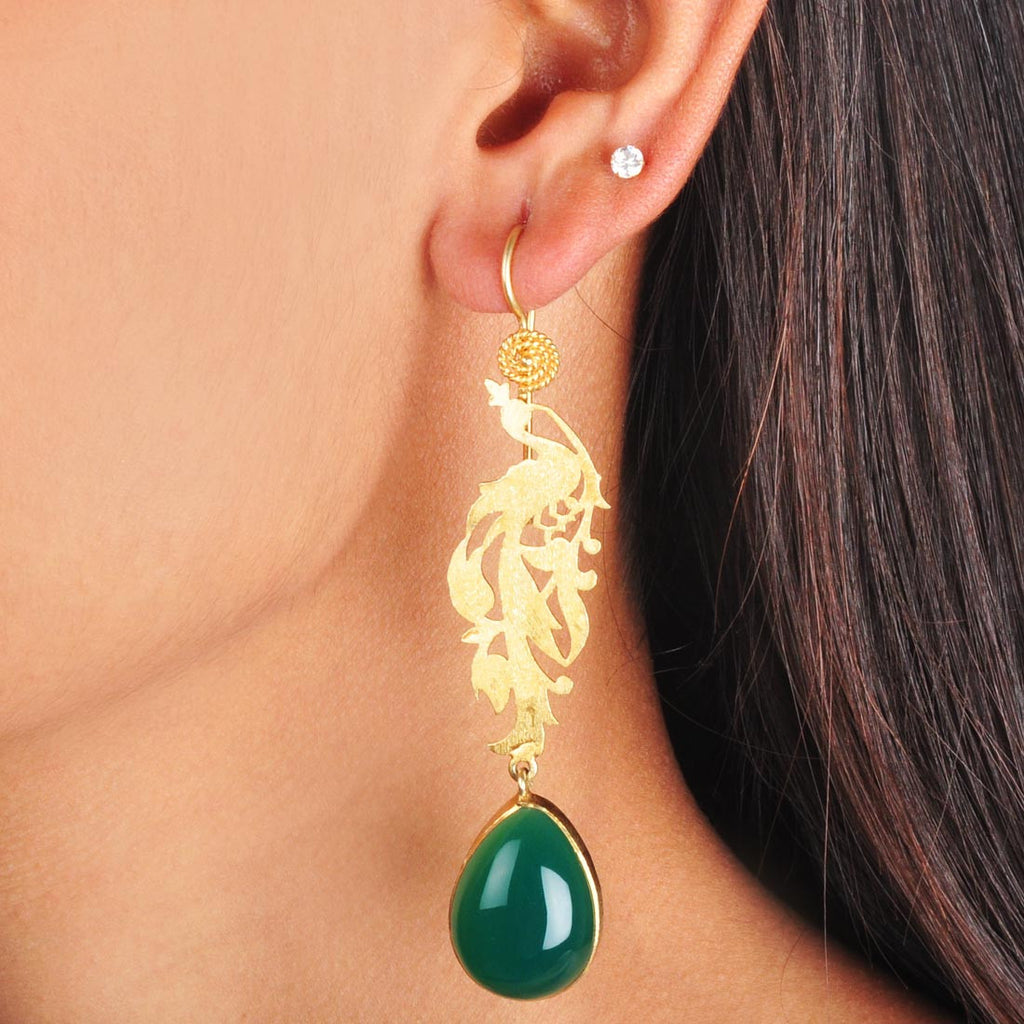 Gold Plated Sterling Silver Green Onyx Dangler Earrings by Silvermerc Designs