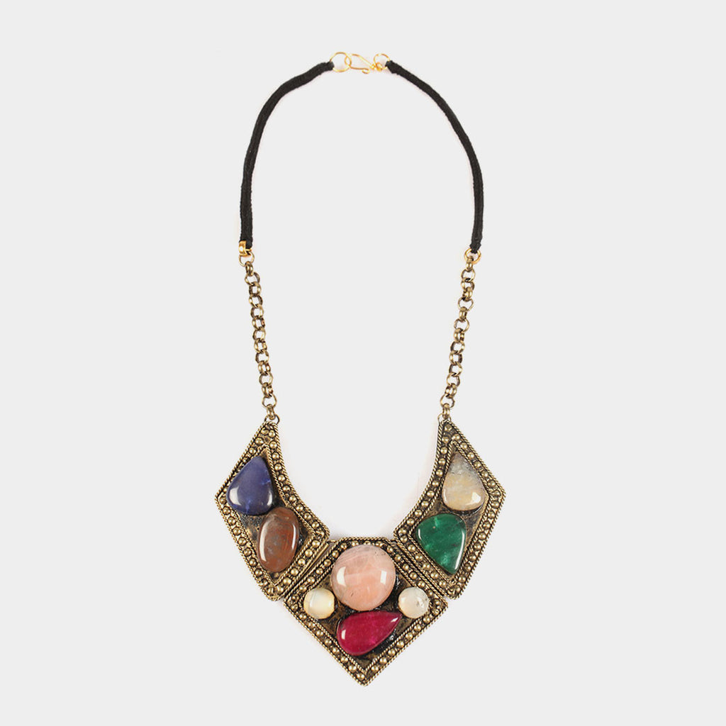 Different Shapes Stones Ottoman Imperium Necklace by Suman Mishra Jewelry