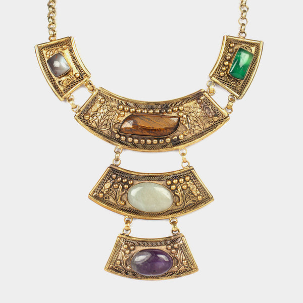 Three Drop Empress Necklace With Colorful Stones