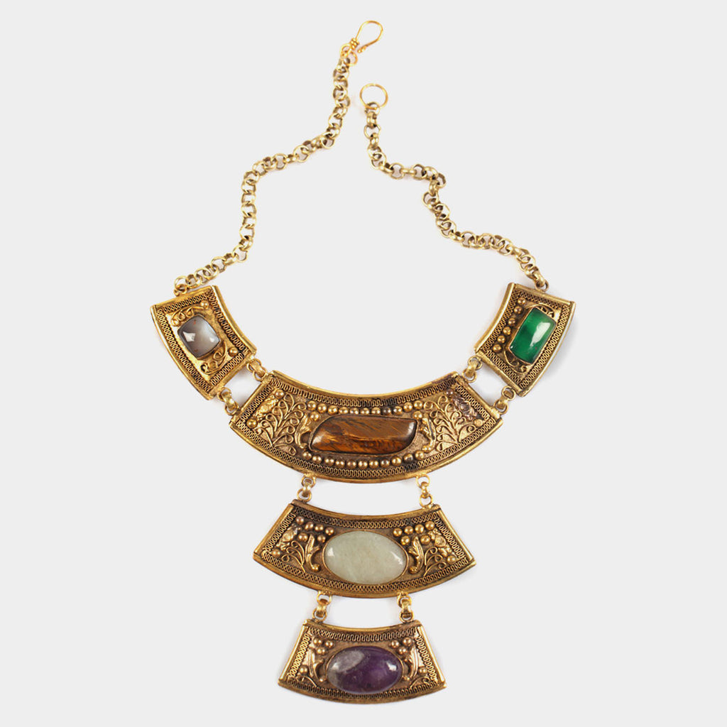 Three Drop Empress Necklace with Colorful Stones by Suman Mishra Jewelry