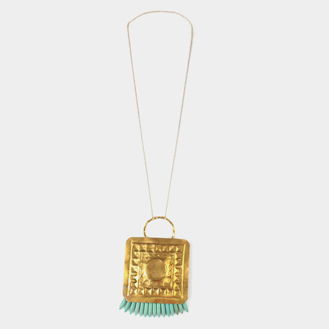 Square Tribal Bead Necklace by Suman Mishra Jewelry