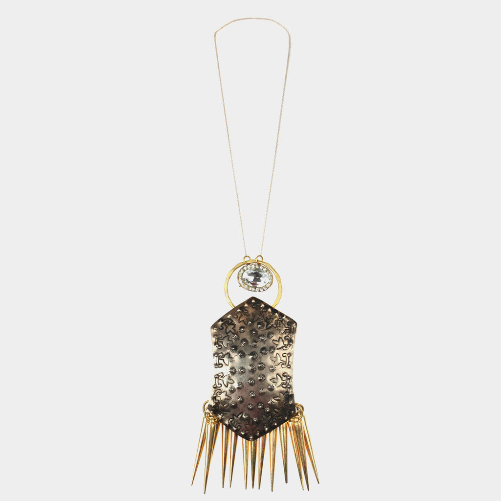 Shield Spikes Necklace by Suman Mishra Jewelry