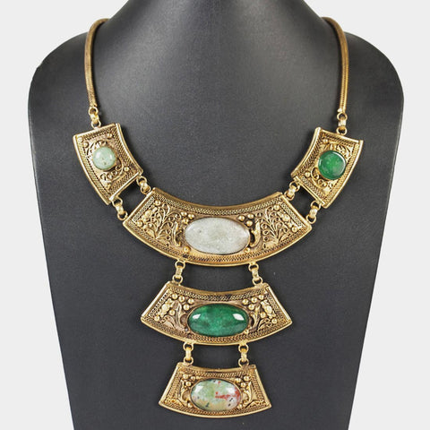 Three-Tier Goddess Necklace in Green by Suman Mishra Jewelry