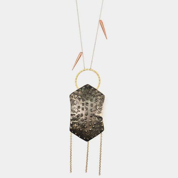 Shield Necklace With Dangling Chains