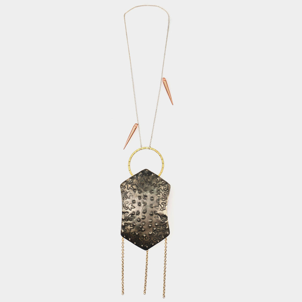 Shield Necklace with Dangling Chains by Suman Mishra Jewelry