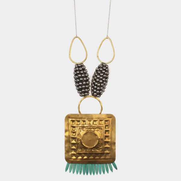 Square Shield Tribal Bead Necklace