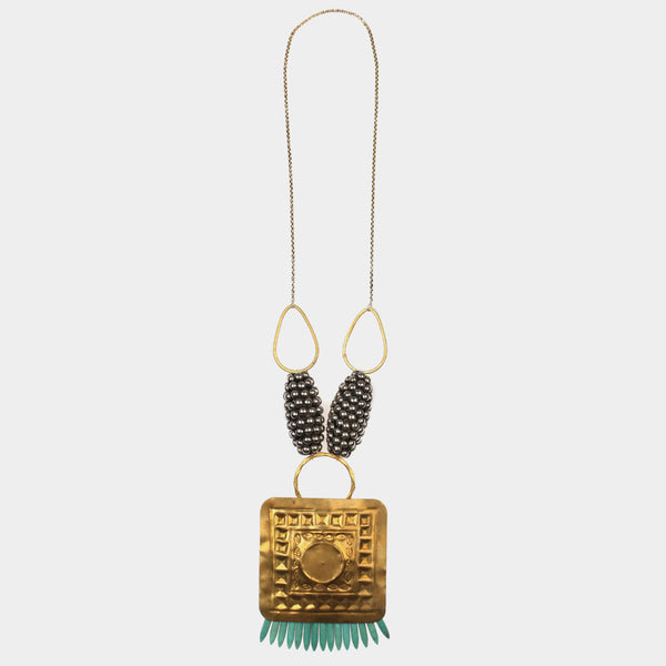 Square Shield Tribal Bead Necklace by Suman Mishra Jewelry