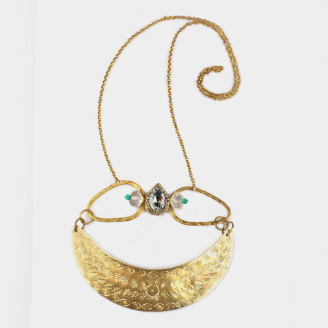 Crescent Moon Necklace with Center Stone by Suman Mishra Jewelry