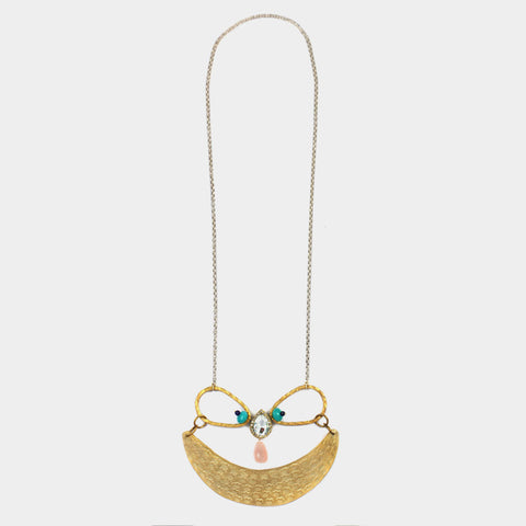 Crescent Moon Necklace with Dangling Stone by Suman Mishra Jewelry