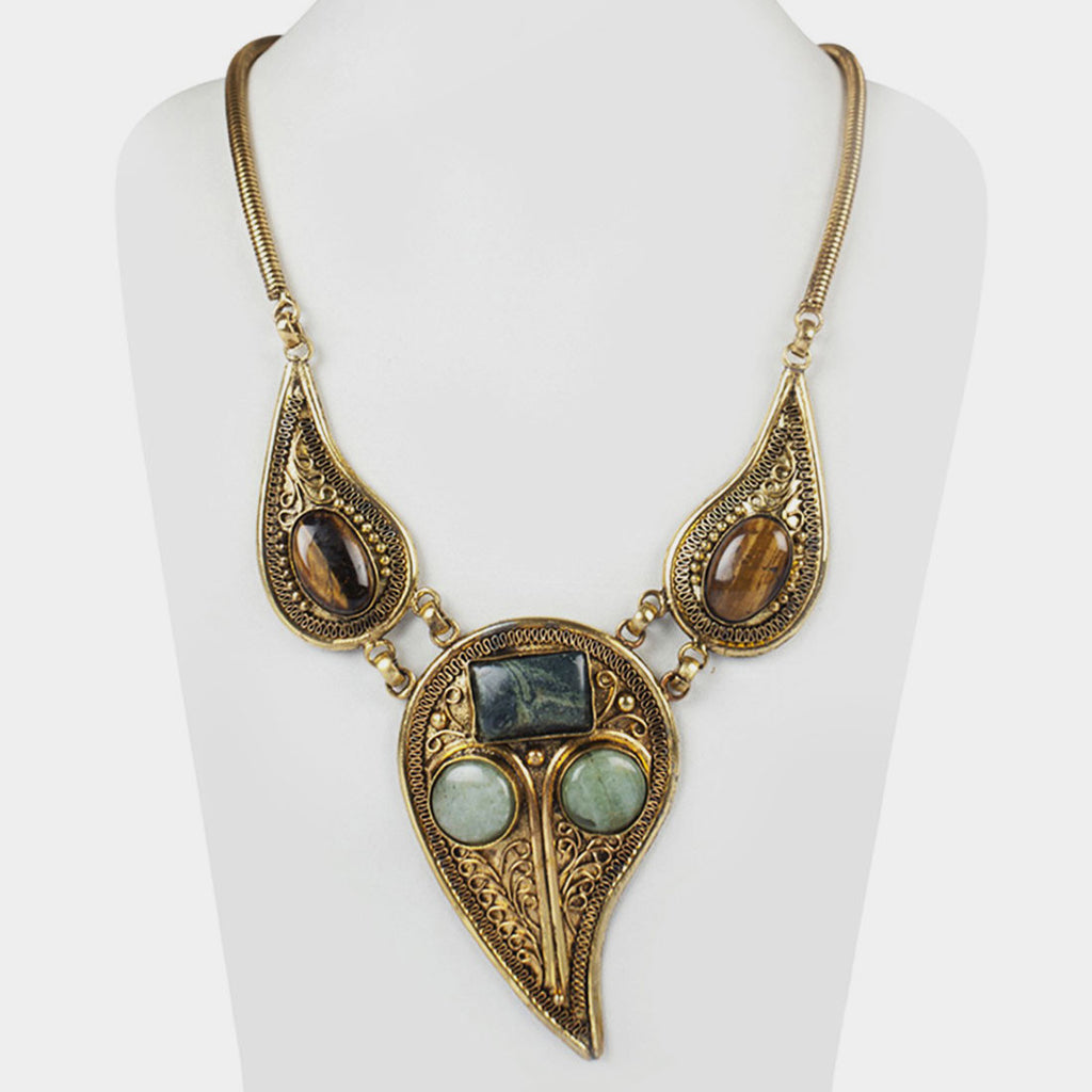 Three Drop Empress Necklace in Brown & Green by Suman Mishra Jewelry