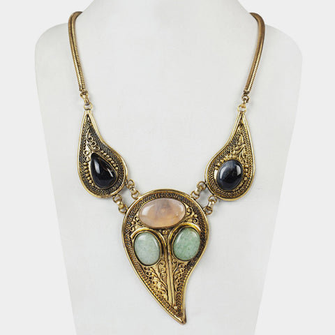 Three Drop Empress Necklace with Semi precious stones by Suman Mishra Jewelry