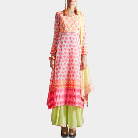 White & Pink Block Print Kurta with Skirt & Dupatta by SAMOR BY PRAGYA & MEGHA