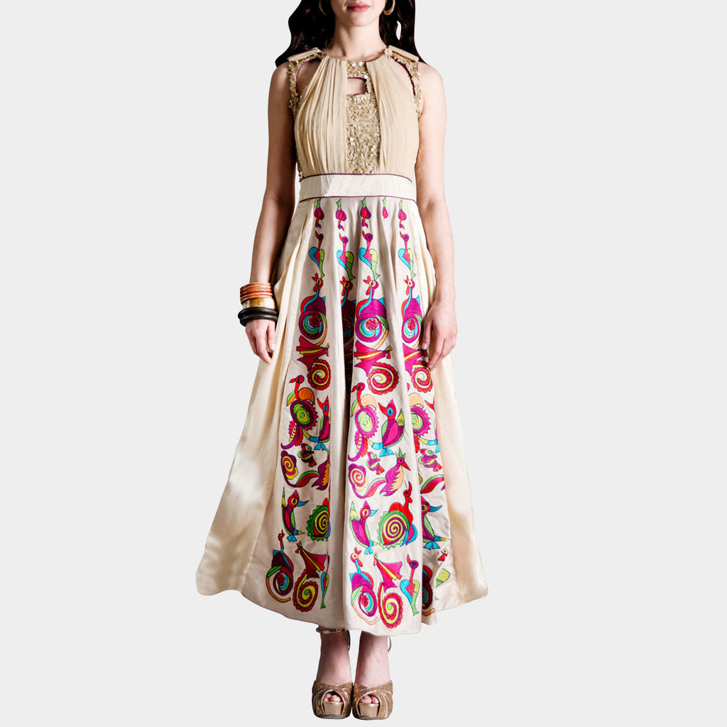 Cream Embroidered Taffeta Dress by SAMOR BY PRAGYA & MEGHA