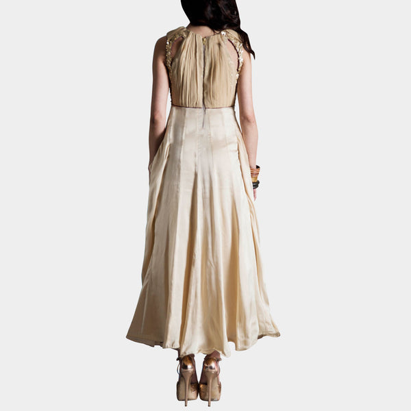 Cream Embroidered Taffeta Dress