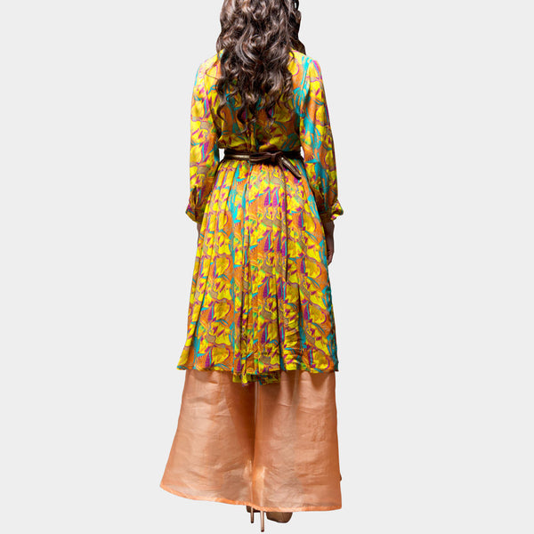 Yellow Floral Digital Printed Dress