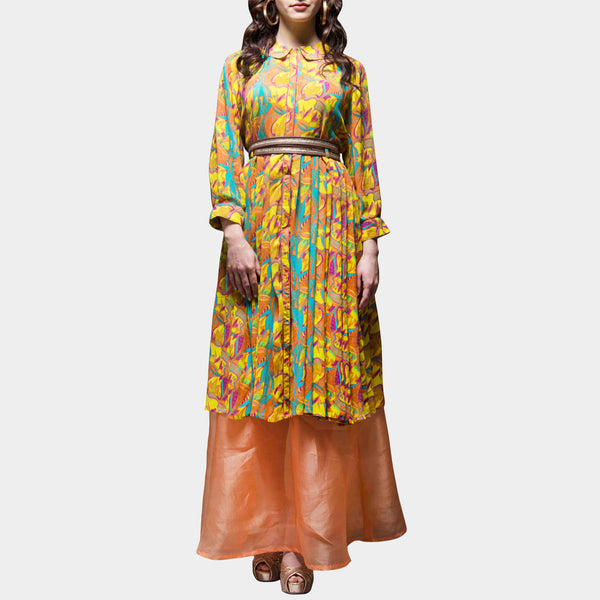 Yellow Floral Digital Printed Dress by SAMOR BY PRAGYA & MEGHA