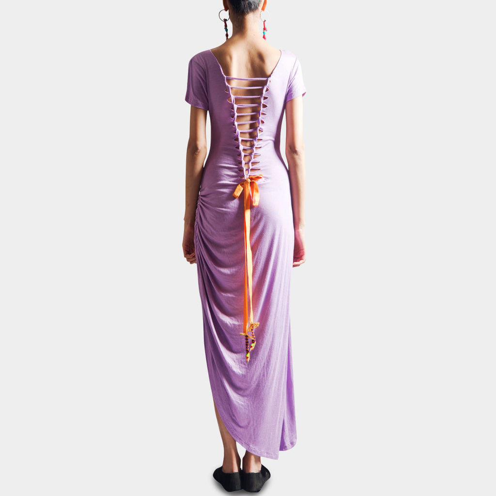 Mauve Long Dress by SAMOR BY PRAGYA & MEGHA