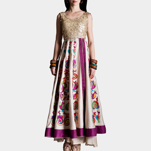 Cream silk taffeta anarkali by SAMOR BY PRAGYA & MEGHA