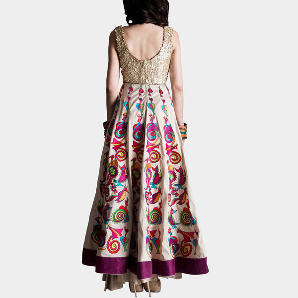Cream Silk Taffeta Anarkali