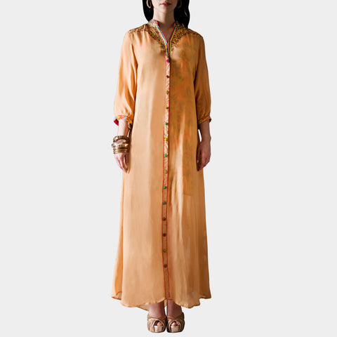 Long Beige Front Open Dress by SAMOR BY PRAGYA & MEGHA