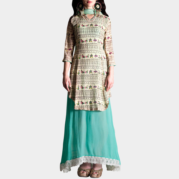 Cream bird print short kurta by SAMOR BY PRAGYA & MEGHA